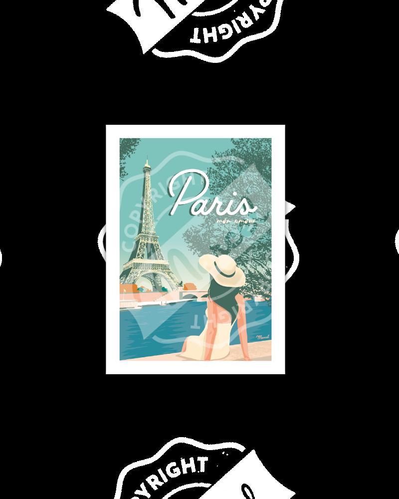 """Postcard  PARIS """"Mon Amour"""""""