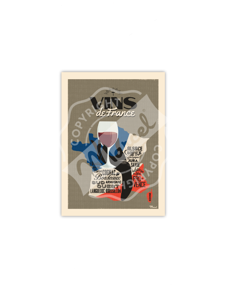 Poscard VINS DE FRANCE