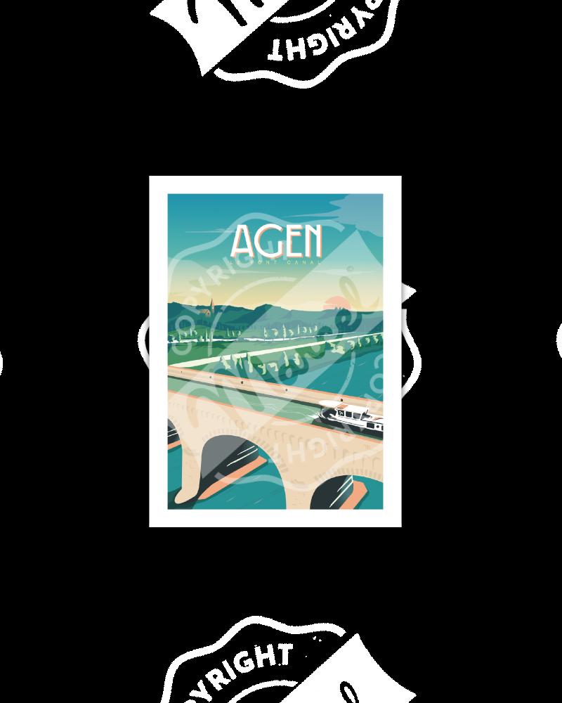 """Postcard AGEN """"Le Pont Canal"""""""