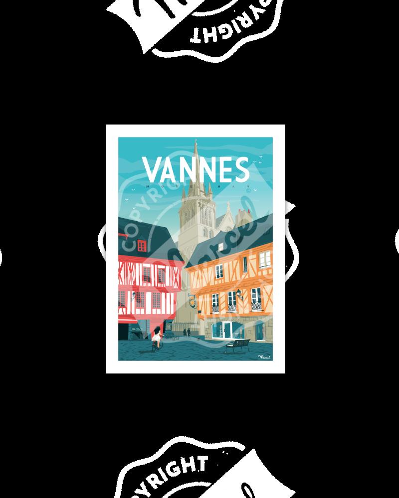 """Postcard VANNES """"Place..."""