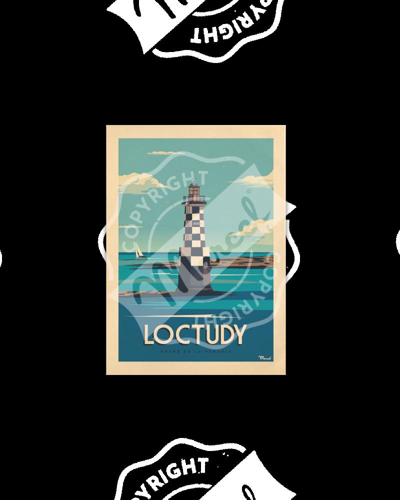 Postcard LOCTUDY «Phare de la Perdrix»