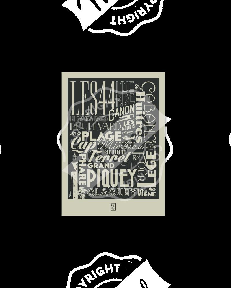 Postcard CAP FERRET TYPOGRAPHY