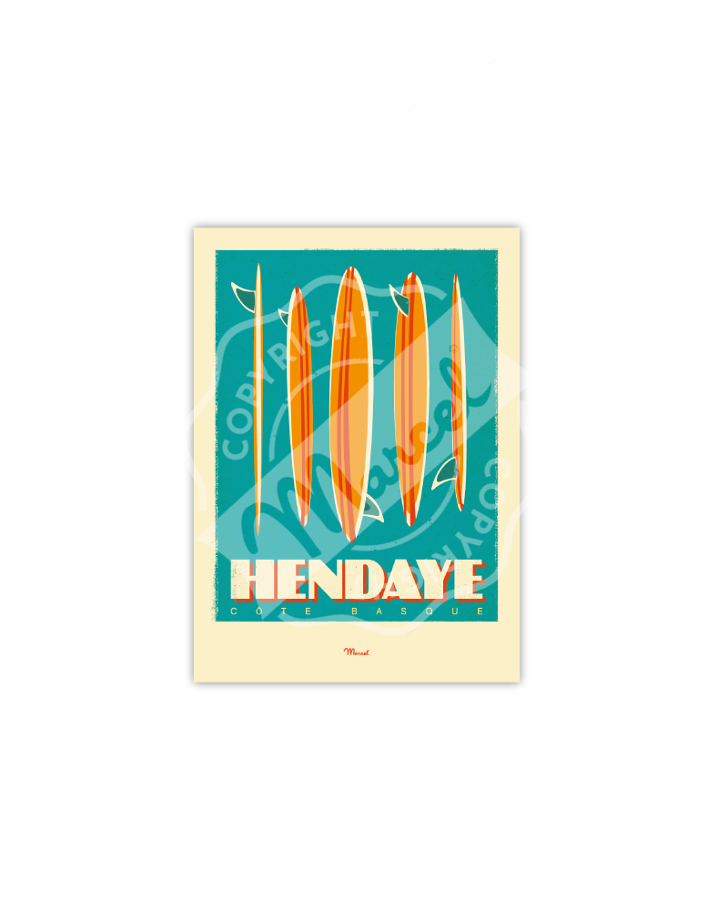 "Postcard HENDAYE ""Surfboards"""