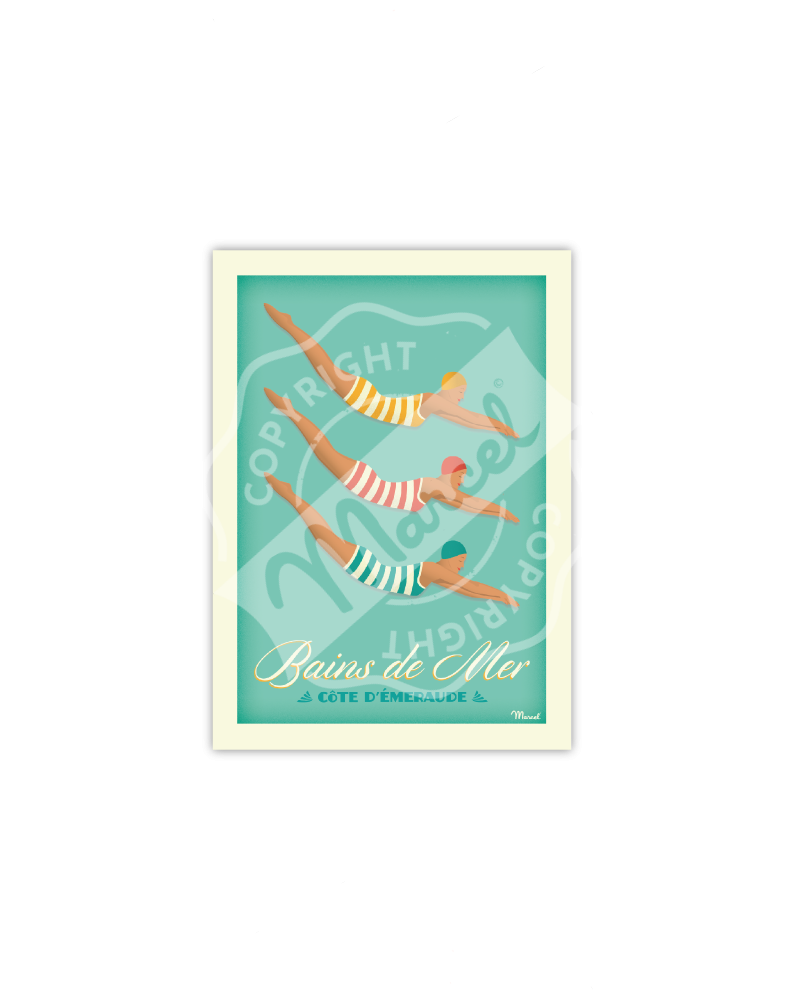 """Postcard Bains de Mer """"Côte d'Emeraude"""" - Marcel Travel Poster"""