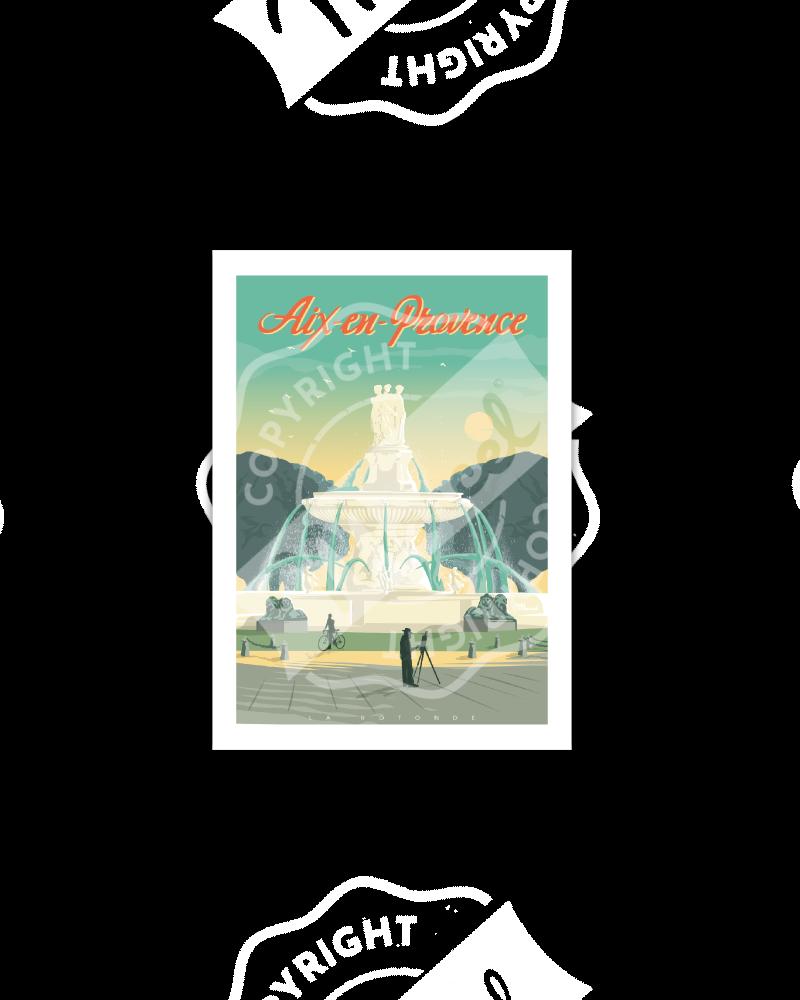 """Cartes Postales Marcel AIX-EN-PROVENCE """"La Rotonde"""""""