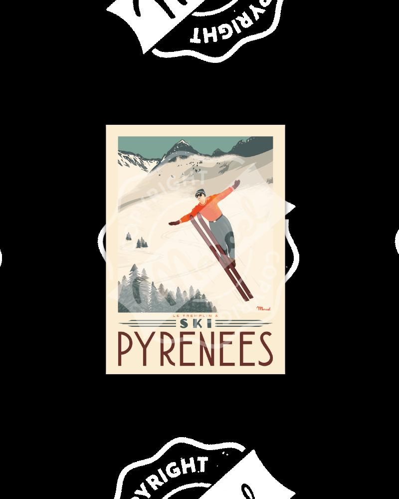 Cartes Postales Marcel PYRENEES « Tremplin à Ski»