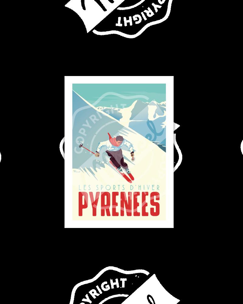Carte Postale Marcel PYRENEES « Le Skieur»