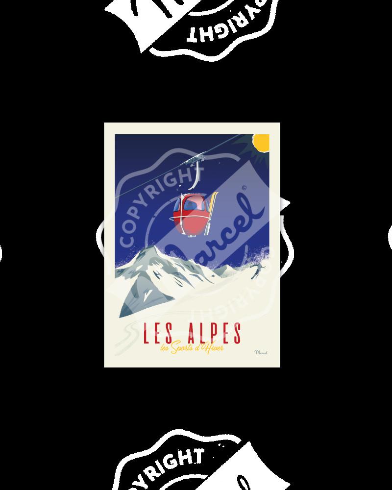 """Cartes Postales Marcel CLASSIC WINTER """" ALPES - La Télécabine """""""