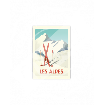 "Cartes Postales Marcel CLASSIC WINTER "" ALPES - Les Skis Rouges """