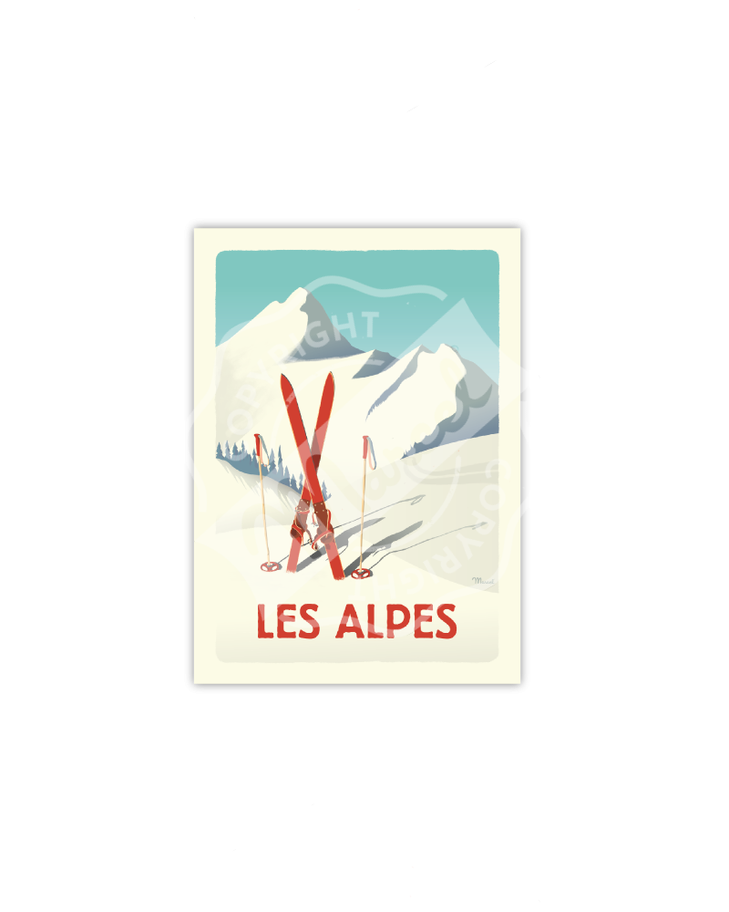 "Cartes Postales Marcel CLASSIC WINTER "" ALPES - Les Skis Rouges """