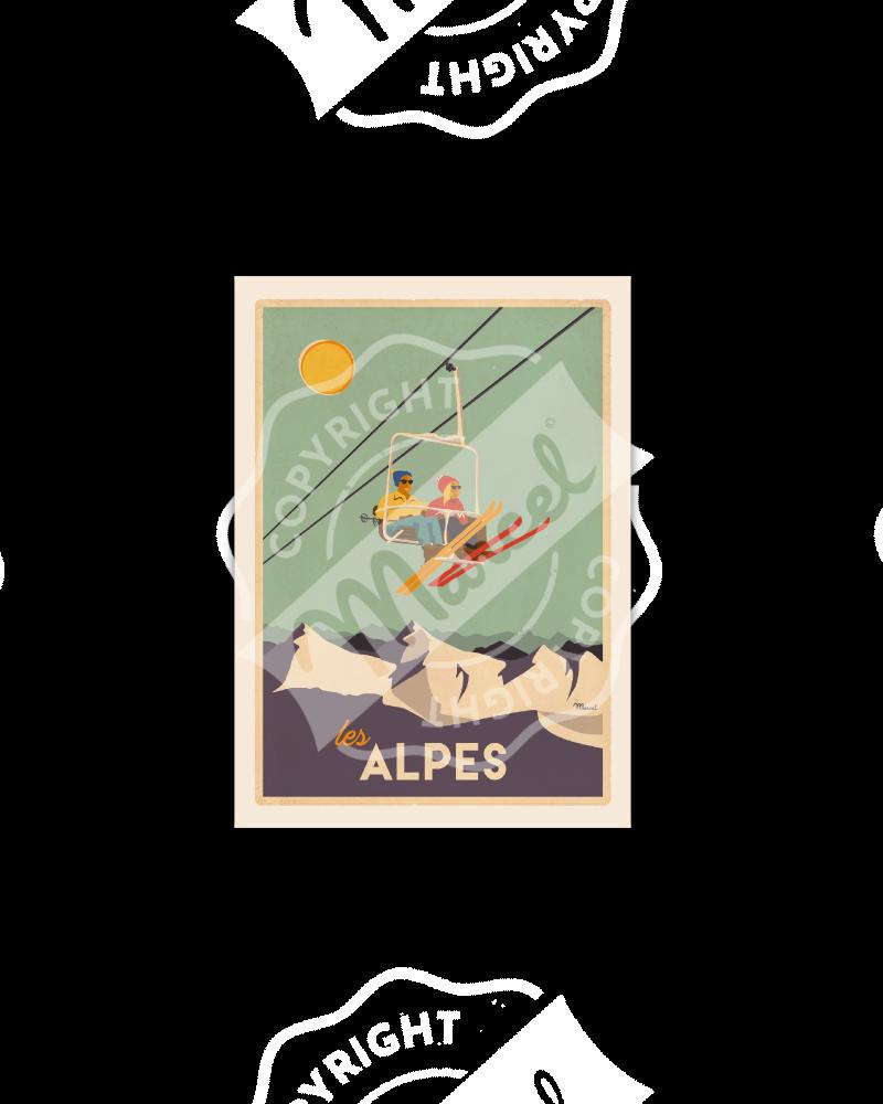 """Cartes Postales Marcel CLASSIC WINTER """" ALPES - Le Télésiège """""""
