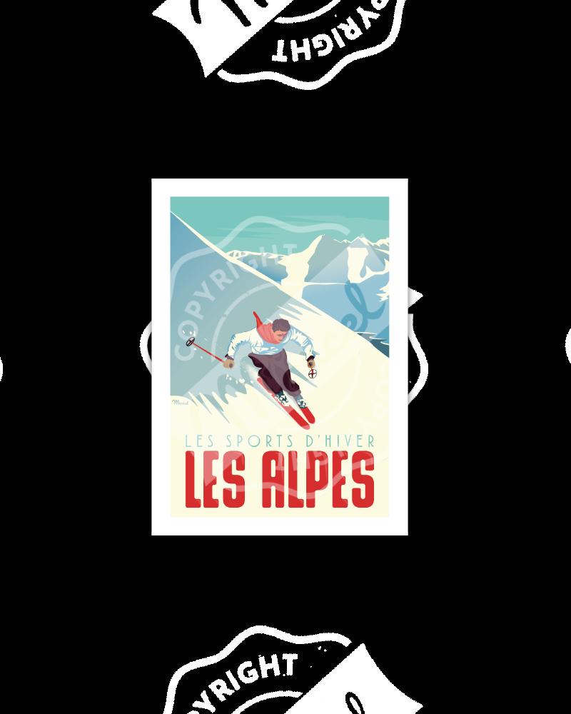 "Cartes Postales Marcel ALPES "" Le Skieur """