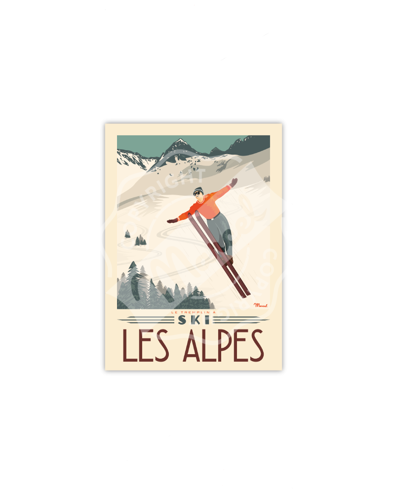 "Cartes Postales Marcel ALPES "" Tremplin à Ski»"