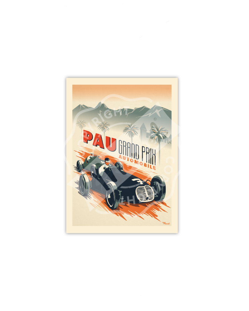 "Carte Postale Marcel PAU "" Grand Prix Automobile """