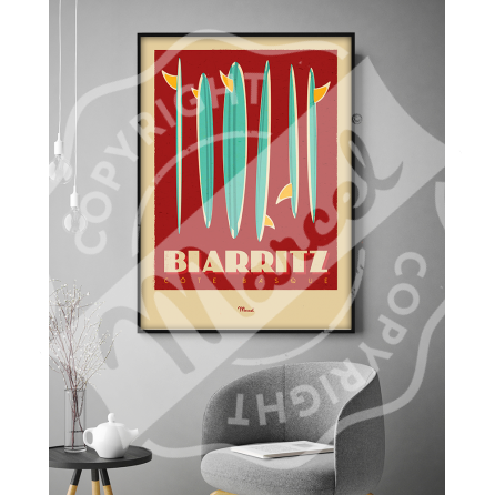 """Affiche Biarritz """"Surfboards"""""""