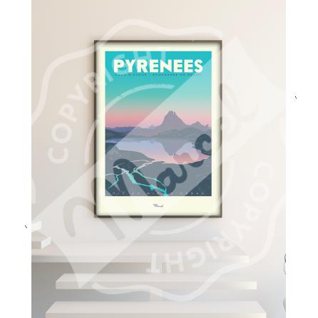 """Affiche vintage Pyrénées """"Lacs d'Ayous"""""""