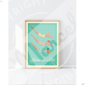 """Poster BAINS DE MER  """" Côte Atlantique """""""