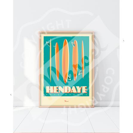 """Affiche HENDAYE """"Surfboards"""""""