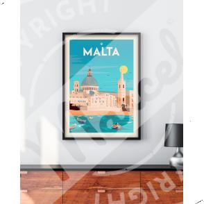 """Poster Malta """"Souvenir from Valletta"""""""