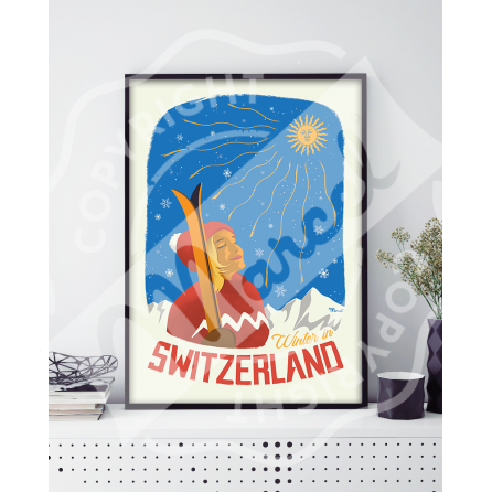 "Affiche SUISSE ""Winter in Switzerland"""