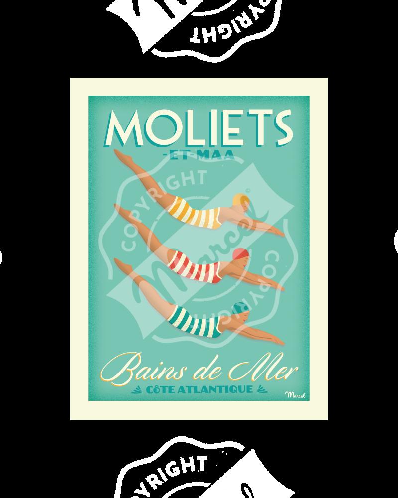 """Affiche MOLIETS """"Bains de Mer"""""""
