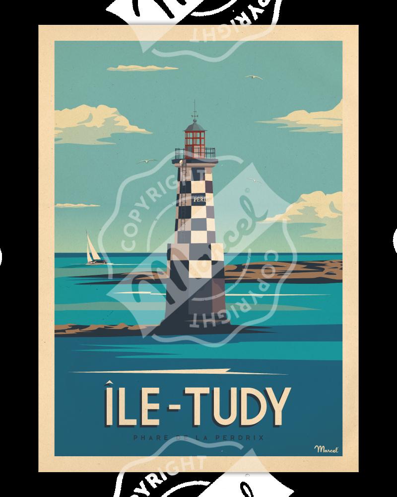 Affiche ÎLE-TUDY « Phare de la Perdrix »