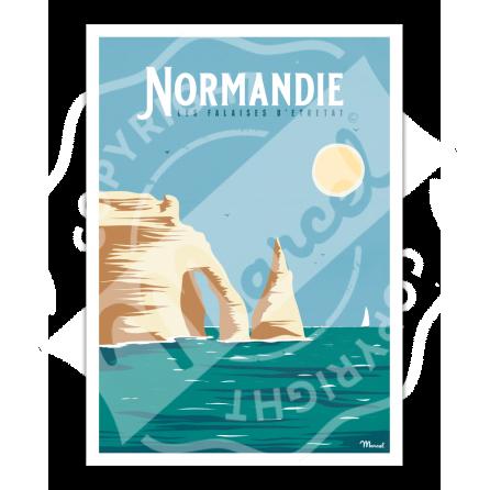 """Affiche NORMANDIE """"Falaises d'Etretat"""""""