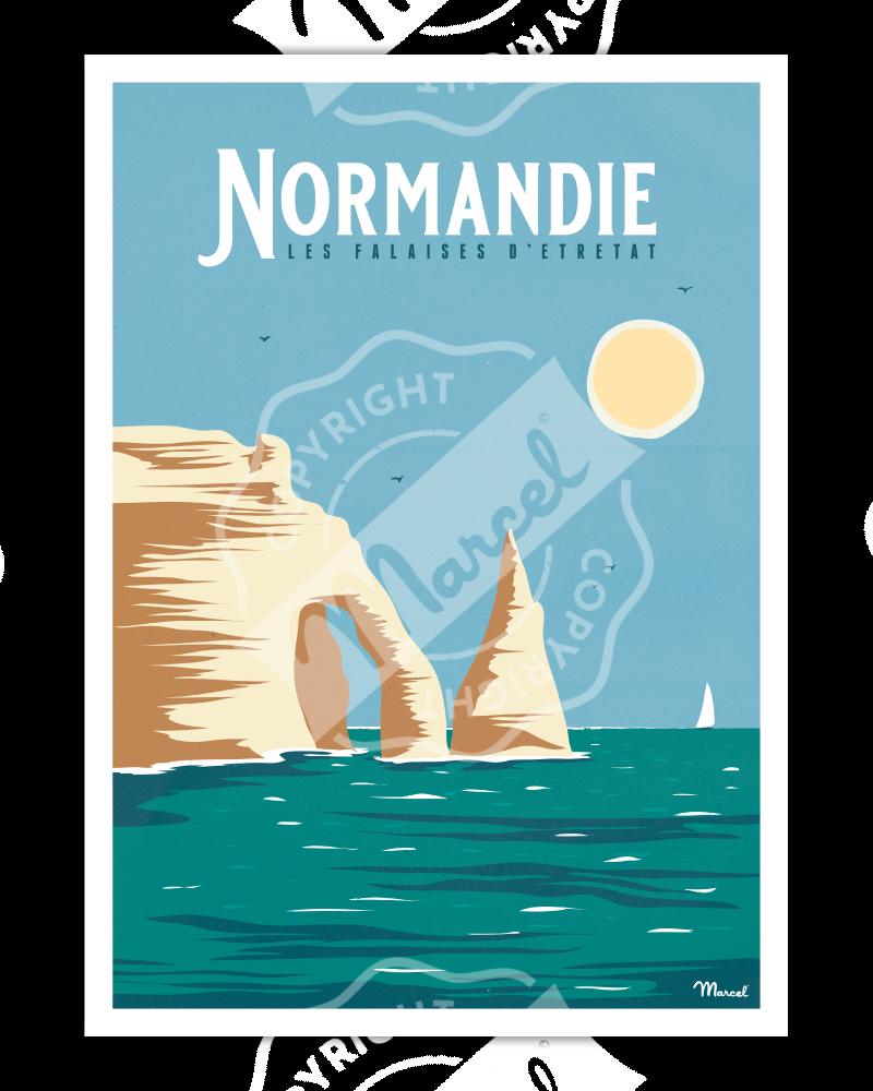 """Affiche NORMANDIE """"Falaises..."""