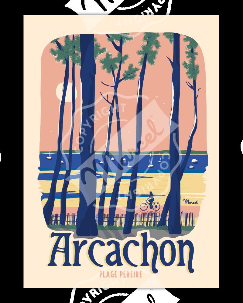 """Affiche ARCACHON """"Plage Pereire"""""""