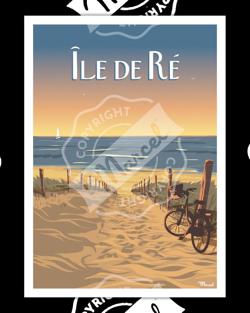 """Poster Île de Ré """"Bois-Plage"""""""