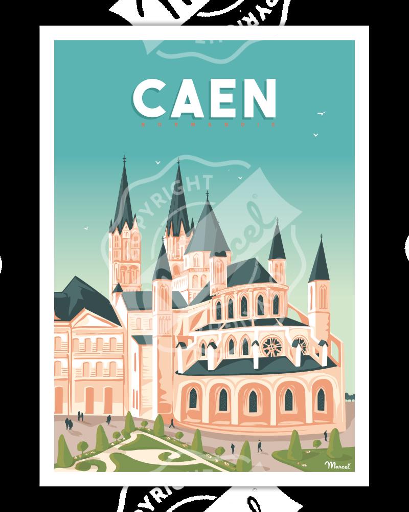 "Affiche CAEN ""L'Abbaye aux Hommes"""