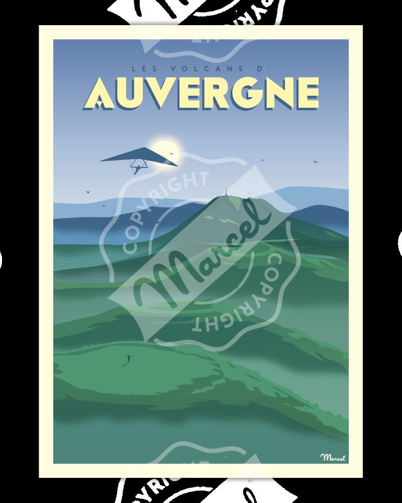 """Affiche AUVERGNE """"Les Volcans"""""""