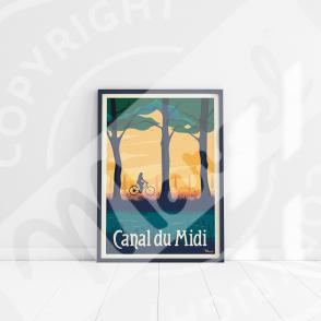"""Affiche CANAL DU MIDI """"Le Vélo"""""""