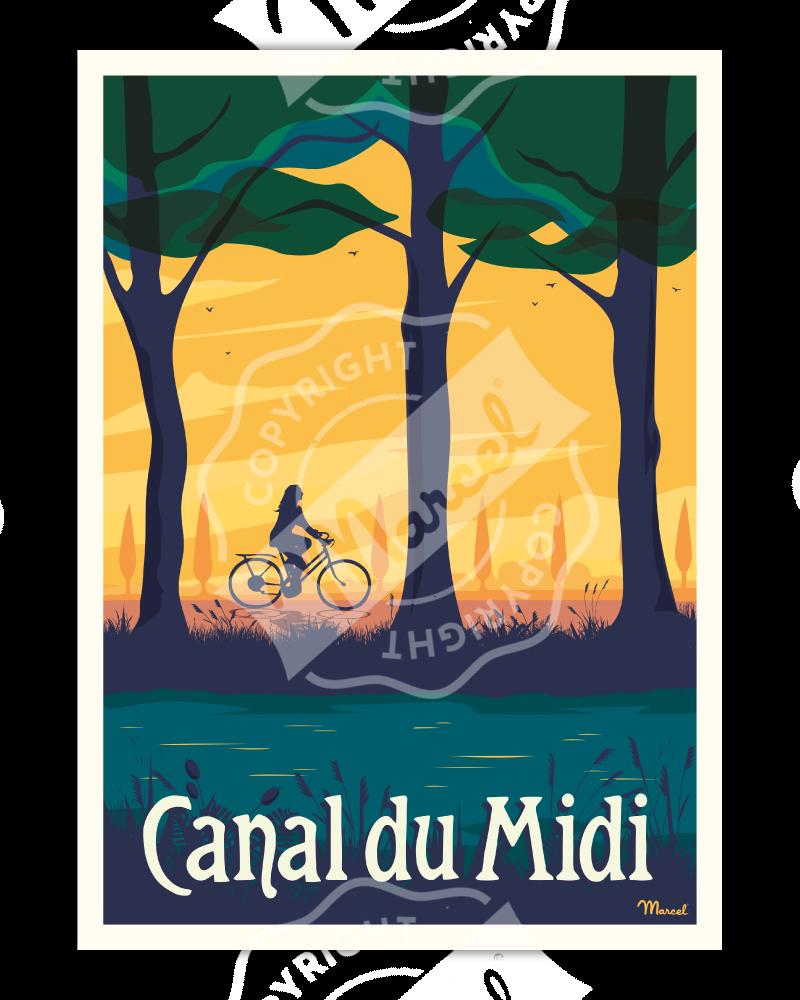 """Poster CANAL DU MIDI """"Le Vélo"""""""