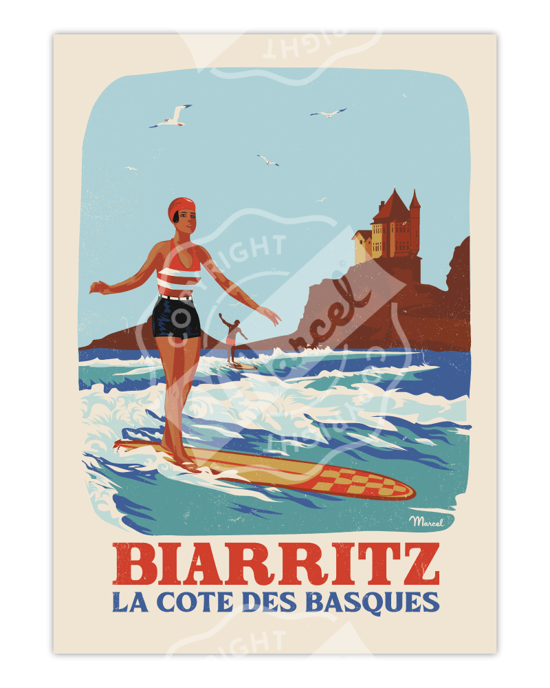 """Affiche Biarritz """"Retrosurf - Côte des Basques"""""""