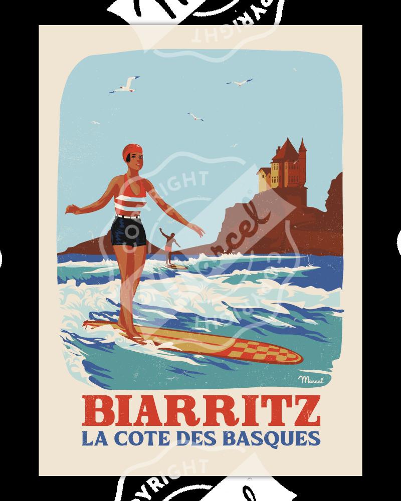 """Poster Biarritz """"Retrosurf - Côte des Basques"""""""