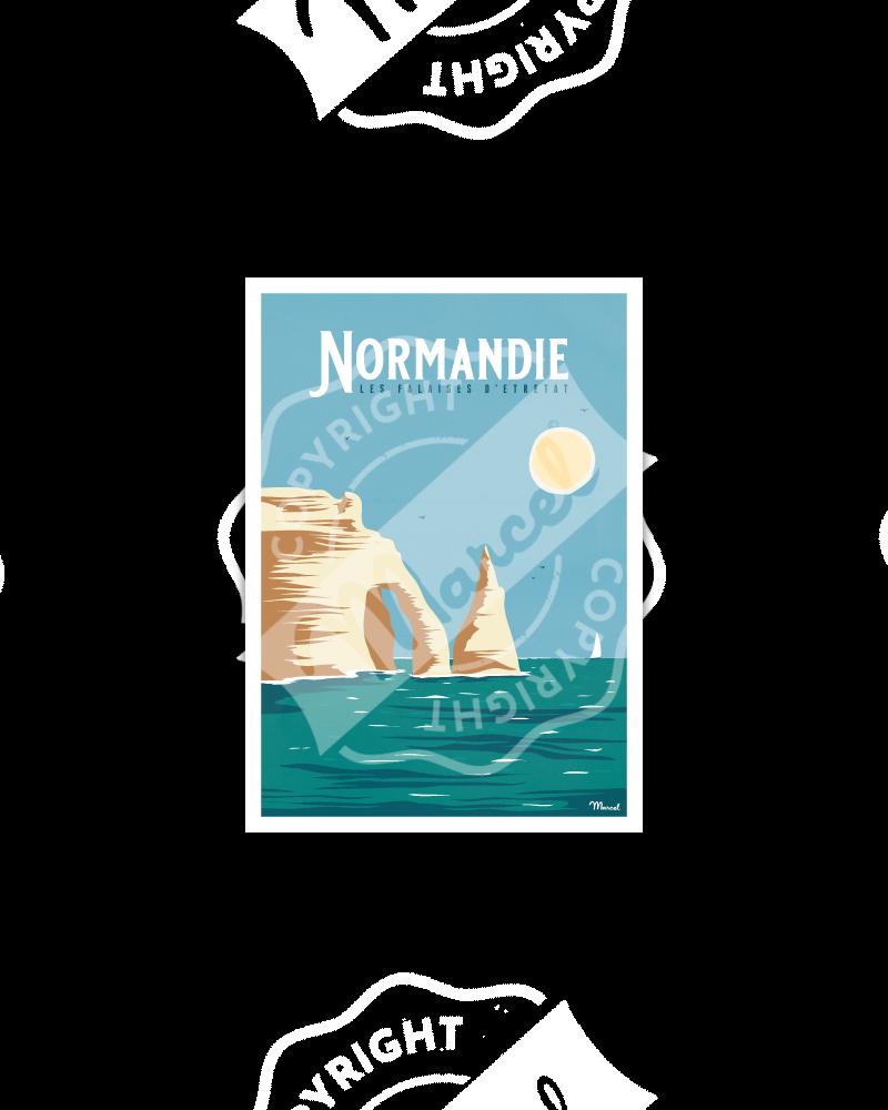 """Carte Postale NORMANDIE """"Falaises d'Etretat"""""""