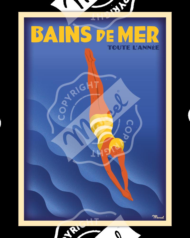 Affiche BAINS DE MER INDIGO POP