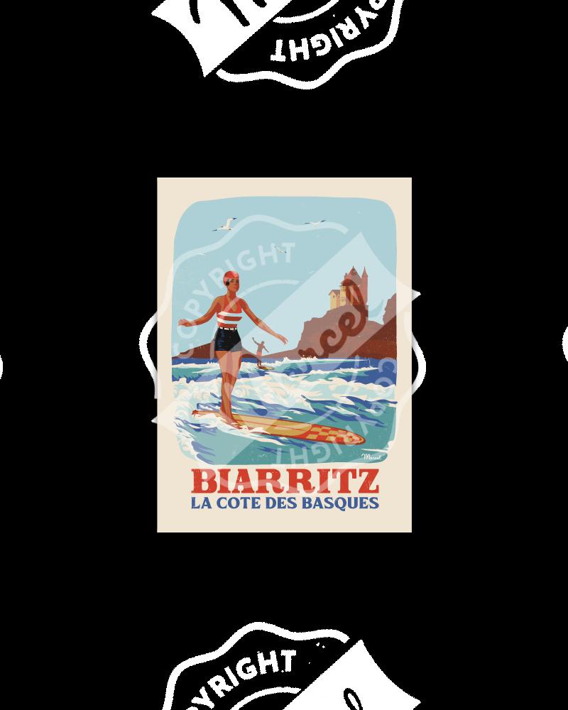 "Carte Postale BIARRITZ ""RETRO SURF"""