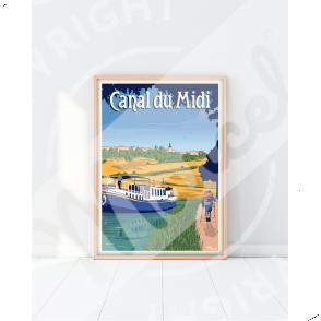 """Affiche CANAL DU MIDI """"La Randonnée"""""""