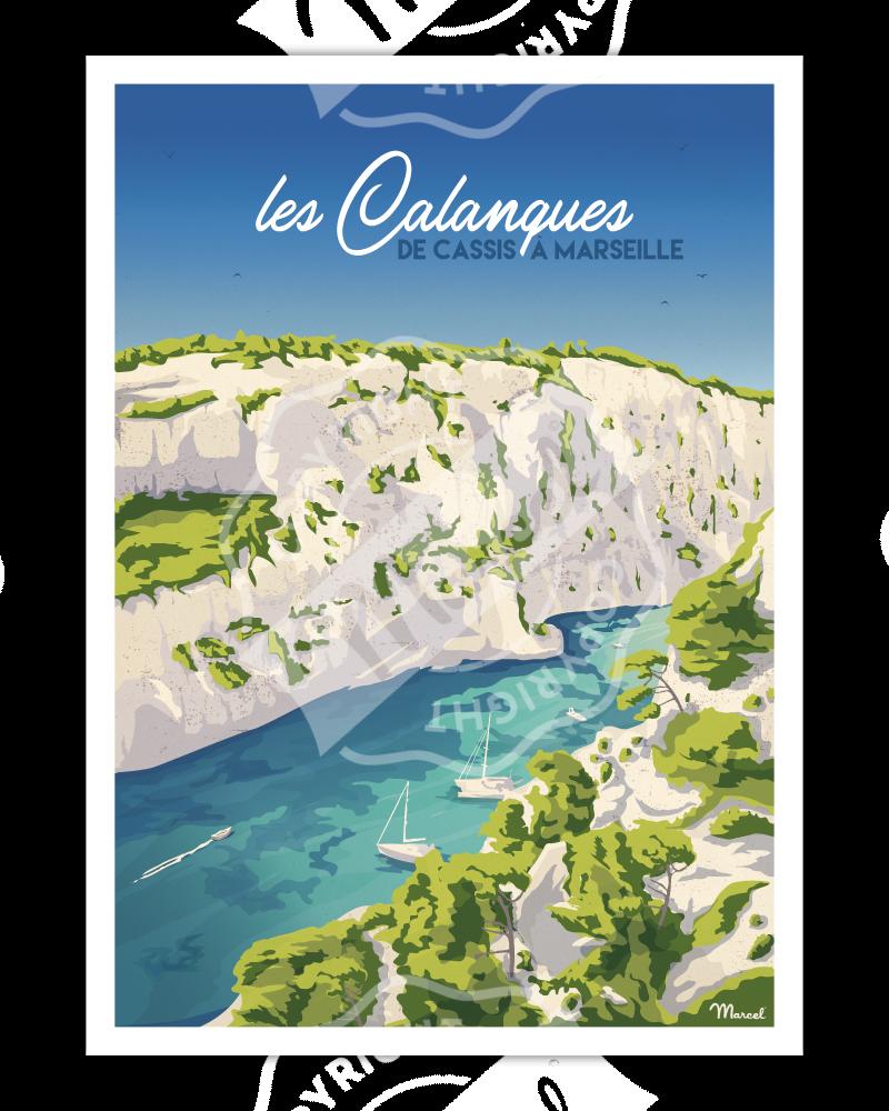 """Affiche LES CALANQUES """"De Cassis à Marseille"""""""