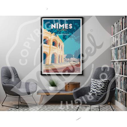 """AFFICHE NIMES """"Les Arènes"""""""