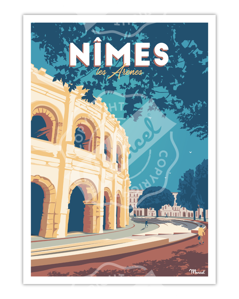 """Poster NIMES """"Les Arènes"""""""