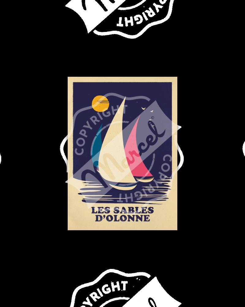 Postcard LES SABLES D'OLONNE RETRO SAILING
