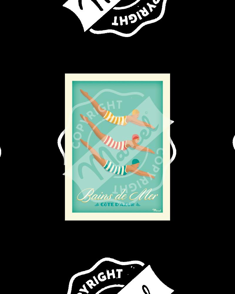 "Postcard BAINS DE MER ""Côte d'Azur"""