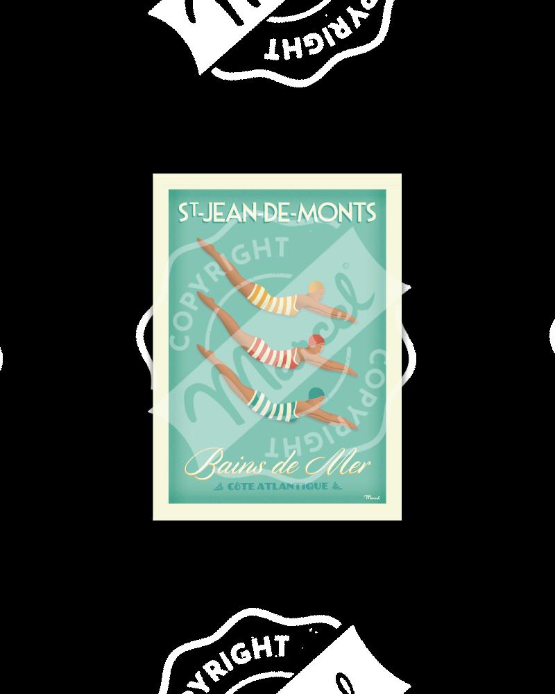 """Postcard  Saint-Jean-de-Monts """"Bains de Mer"""""""