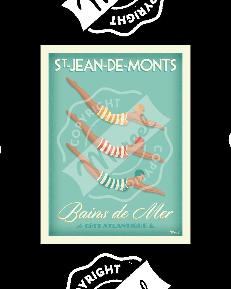 """Poster Saint-Jean-de-Monts """"Bains de Mer"""""""