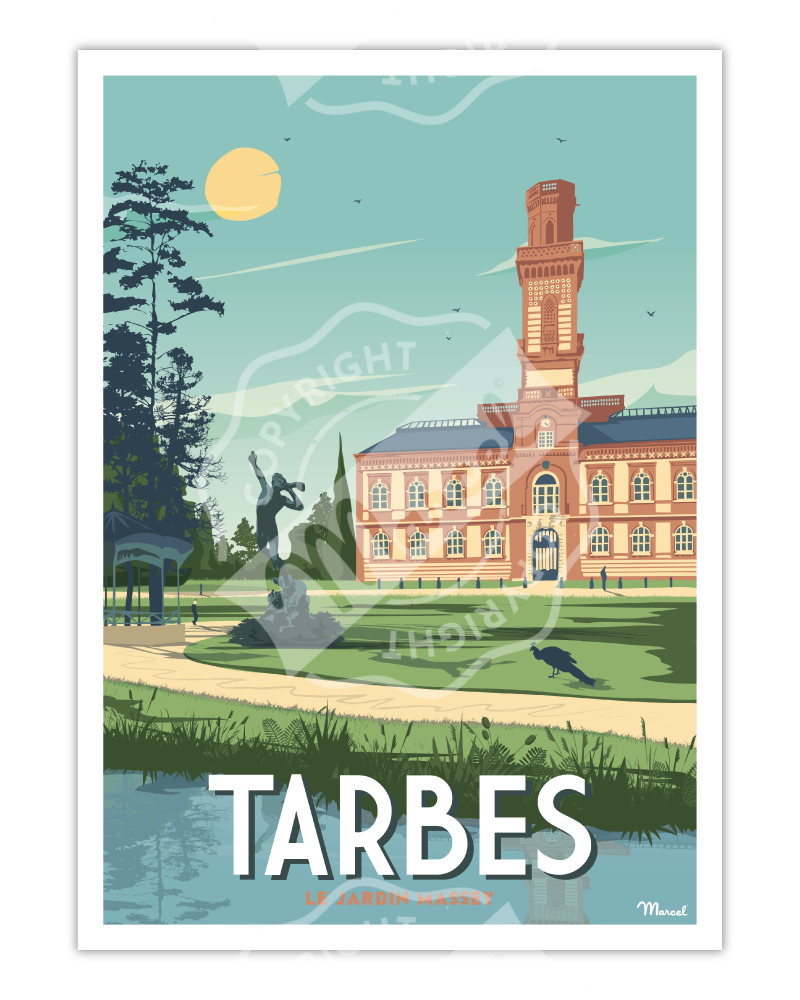 "Poster TARBES ""Le Jardin Massey"""