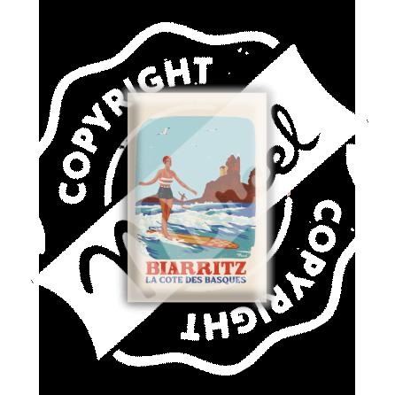 MAGNET BIARRITZ RETRO SURF COTE DES BASQUES