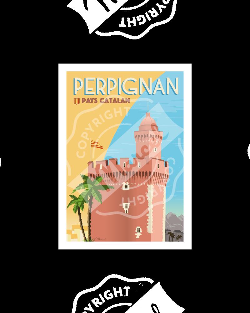 """Postcard PERPIGNAN """"Le Castillet"""" A5"""
